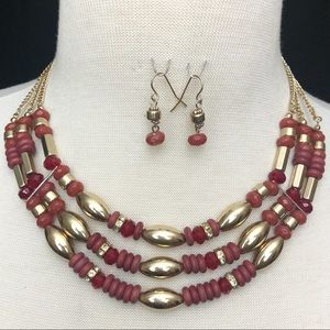 Layered Red & Gold Bead Necklace Earrings Set